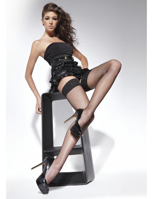 Women's fishnet self-hold stockings LUCREZIA 20DEN BasBleu