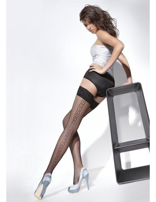 Women's fishnet self-hold stockings SARA 20DEN BasBleu