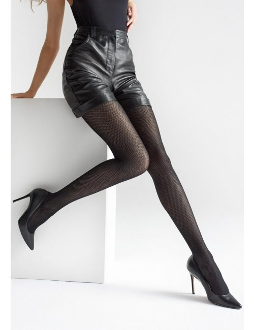 Black patterned tights with geometric pattern GRACE W06 40DEN Marilyn