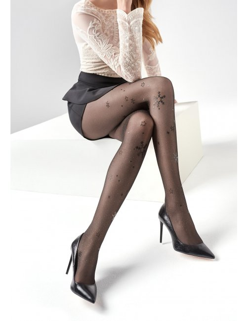 Women's patterned stockings with brocade EMMY N01 20DEN Marilyn