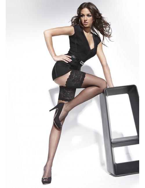 Women's self-hold stockings KAMA 20DEN BasBleu