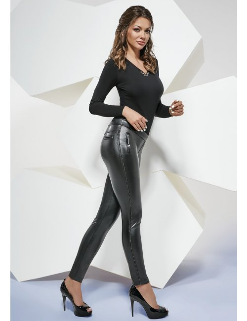 Women's leather leggings KATIA 200DEN BasBleu