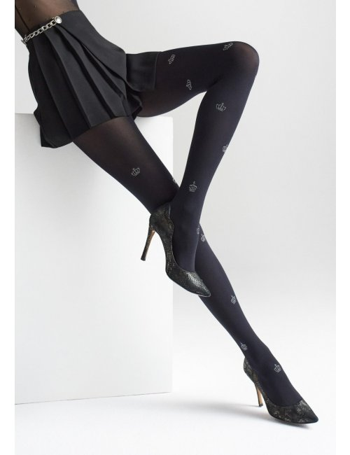 Patterned black tights with crowns ALLURE W12 60DEN Marilyn