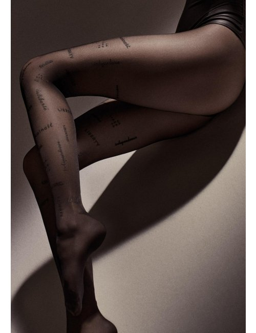 Patterned black tights with inscriptions LIBERTY W10 Marilyn