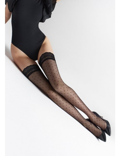 Self-holding stockings with dots COCO W14 20DEN Marilyn