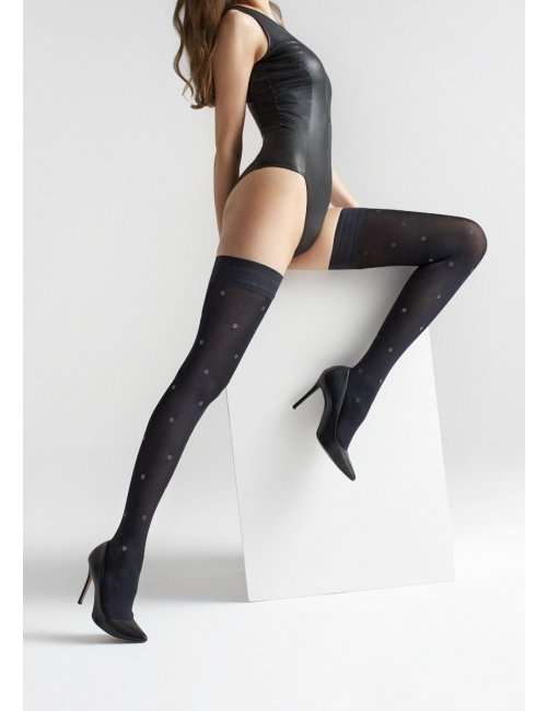 Self-holding black stockings with dots COCO W15 40DEN Marilyn